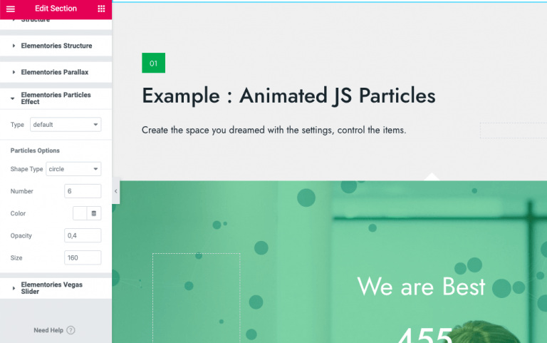 Elementor animated particle background widget