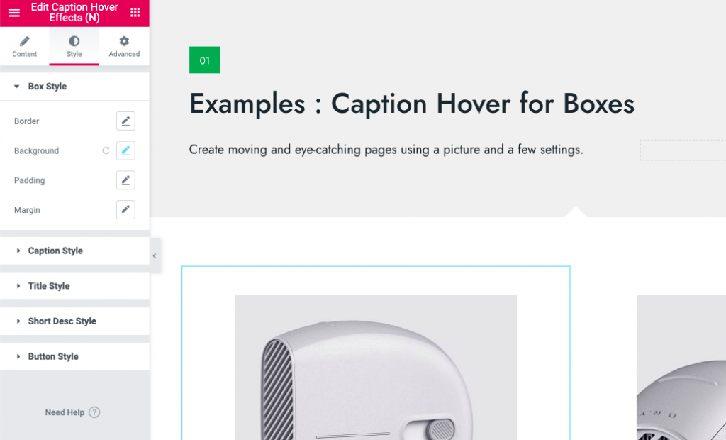 Elementor animated caption hover effect