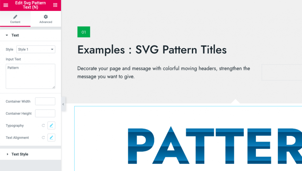 Elementor Animated SVG Pattern Widget By Ninetheme