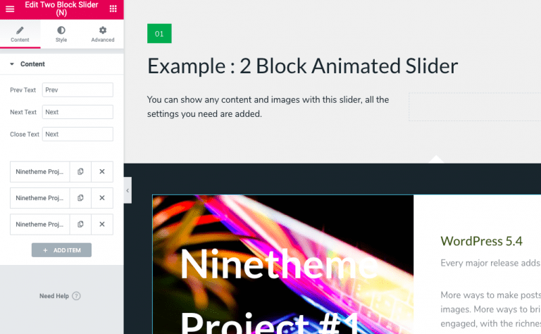 Elementor Expandable 2 Block Animated Slider Widget